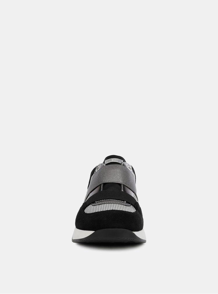 Šedo-černé dámské tenisky se semišovými detaily Geox Suzzie