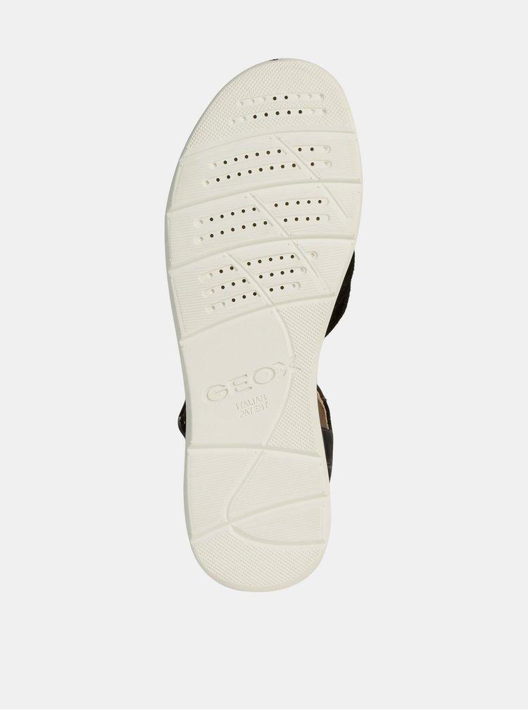 Černé dámské sandály s koženými detaily Geox Hiver