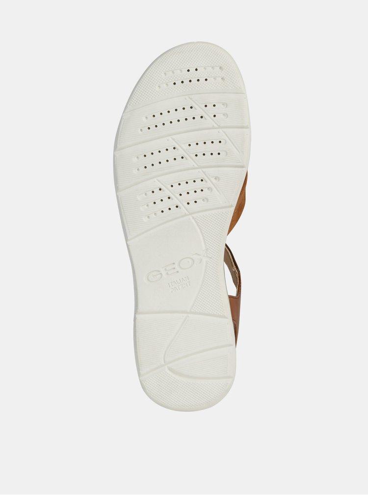 Hnedé dámske sandále s koženými detailmi Geox Hiver