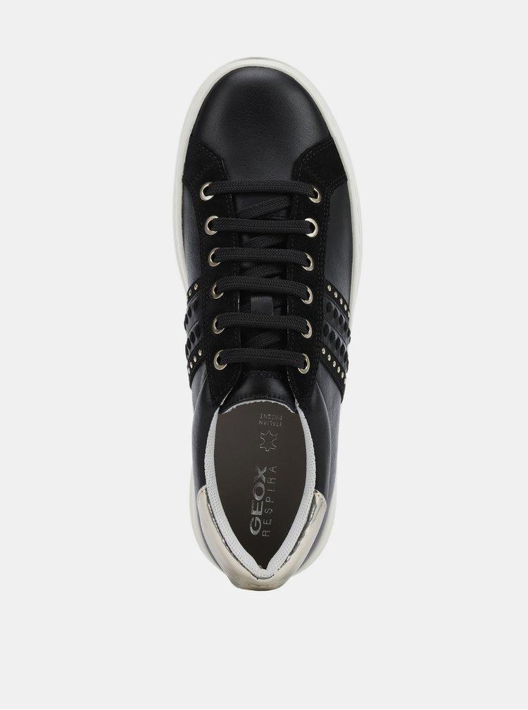 Černé dámské kožené tenisky Geox Pontoise