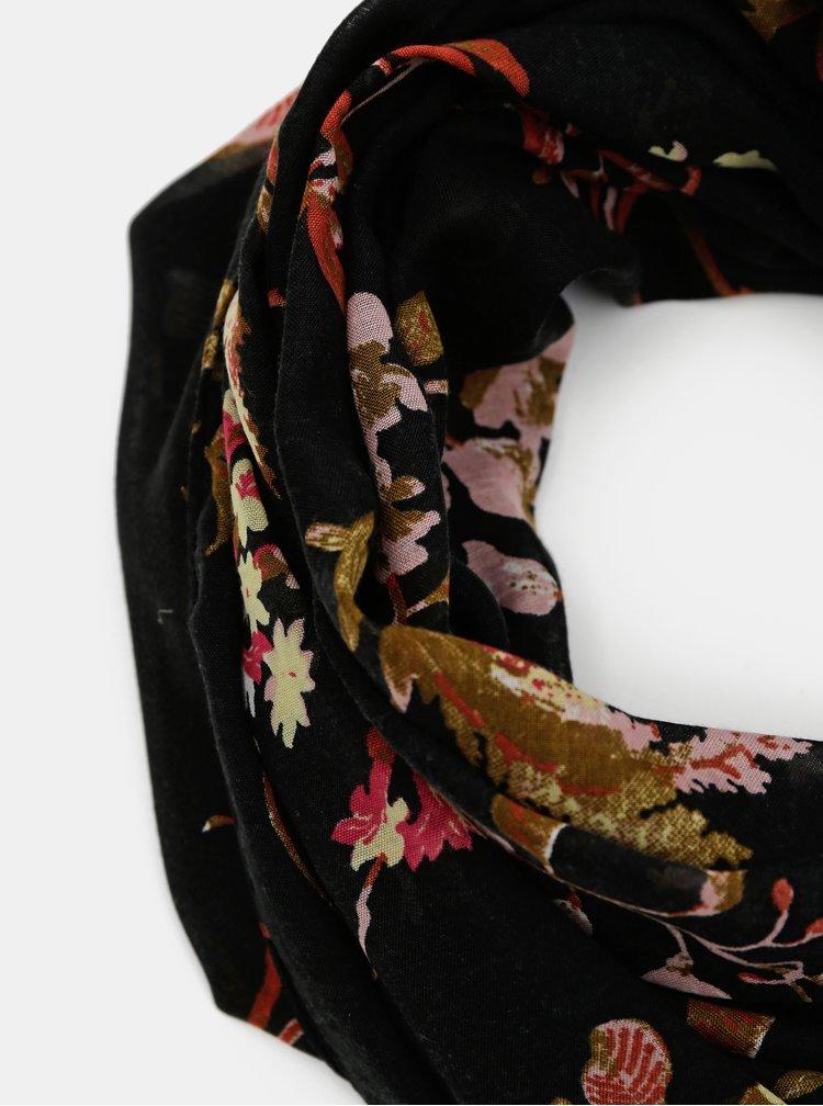 Černý květovaný šátek Pieces Mary
