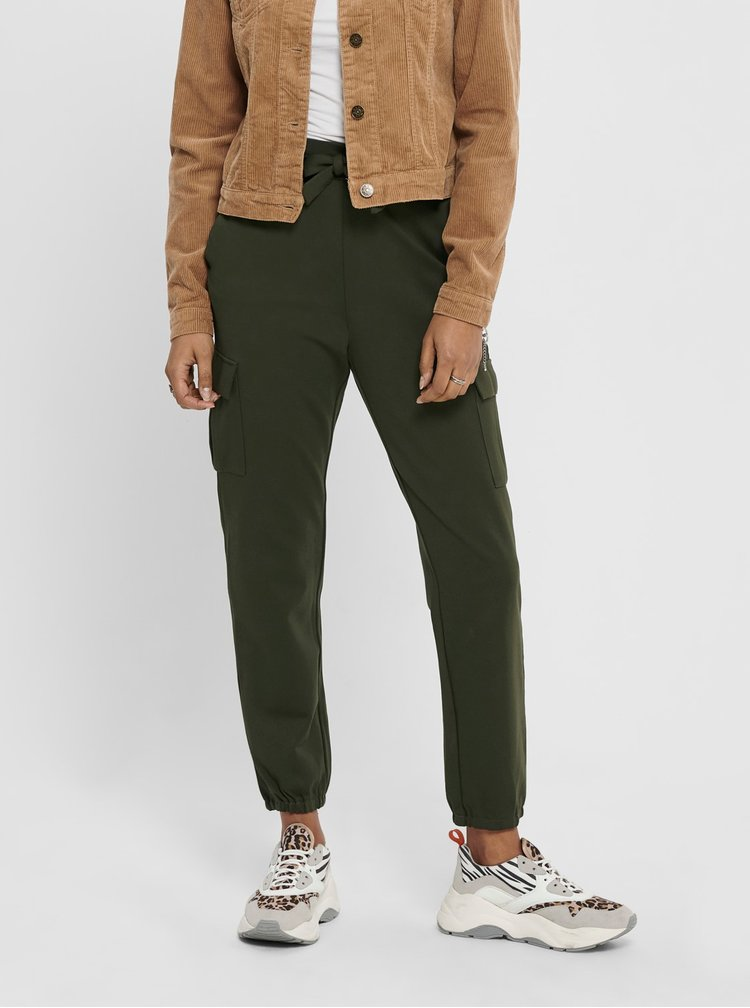 Pantaloni chino pentru femei ONLY - verde inchis