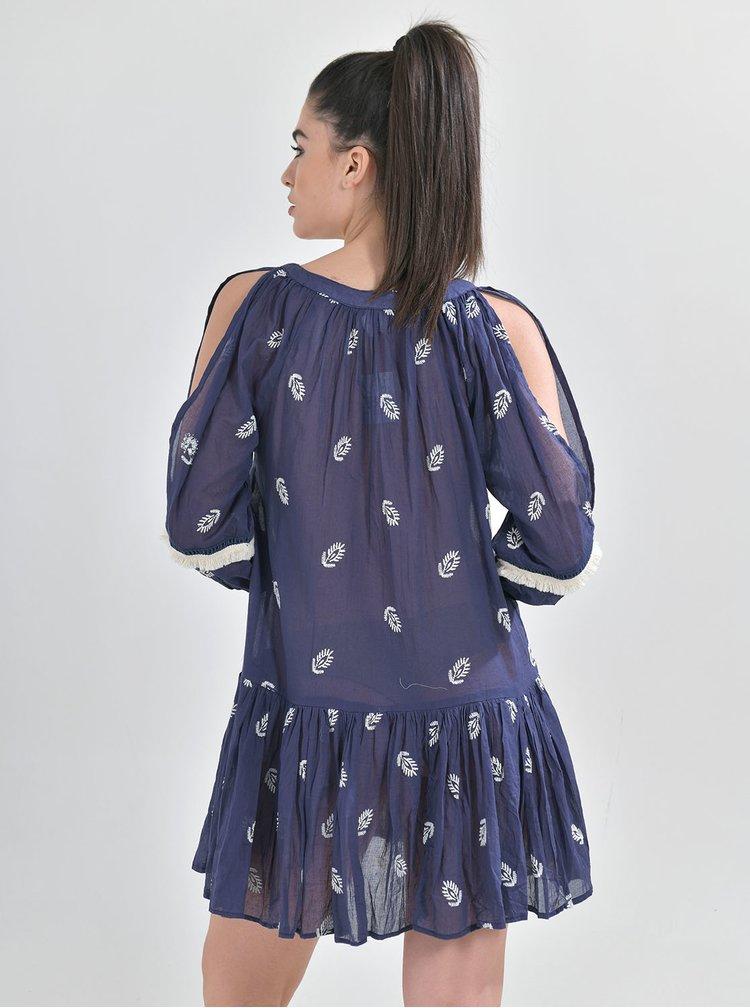 Tmavomodré vzorované šaty Ble