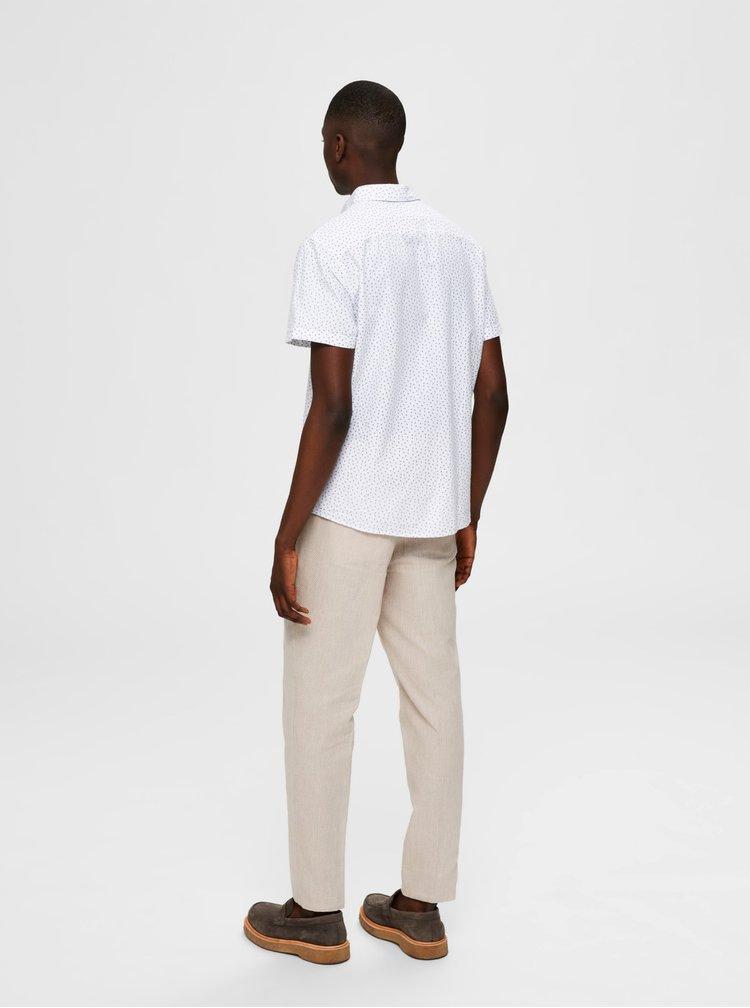 Bílá vzorovaná košile s příměsí lnu Selected Homme