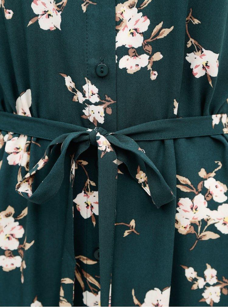 Tmavě zelené květované košilové maxišaty VERO MODA
