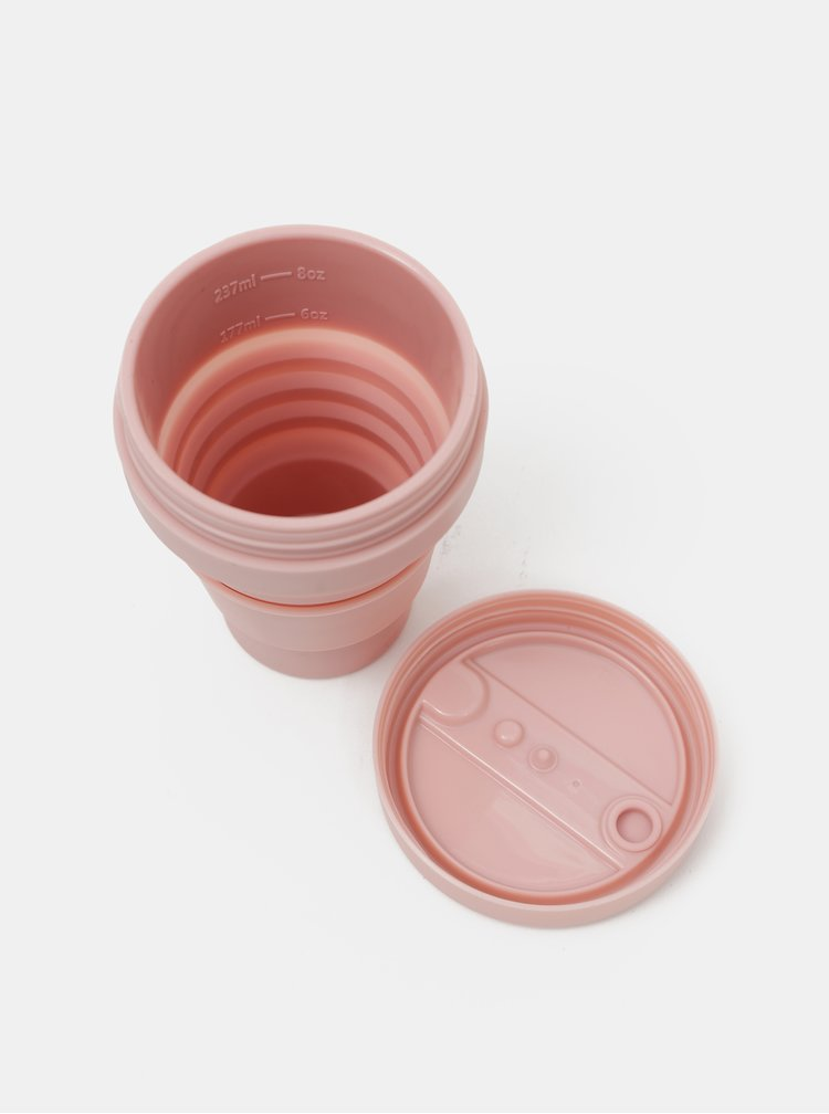 Růžový cestovní skládací hrnek Stojo Mini 237 ml