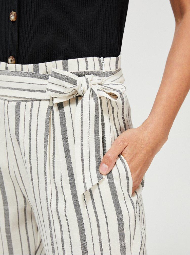Krémové pruhované zkrácené kalhoty Moodo