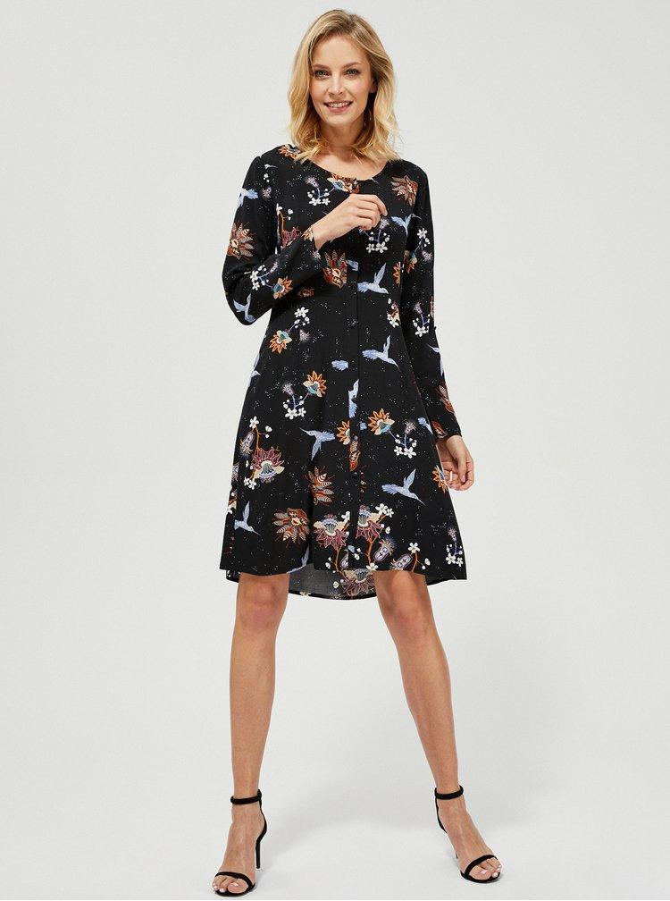 Černé vzorované šaty Moodo