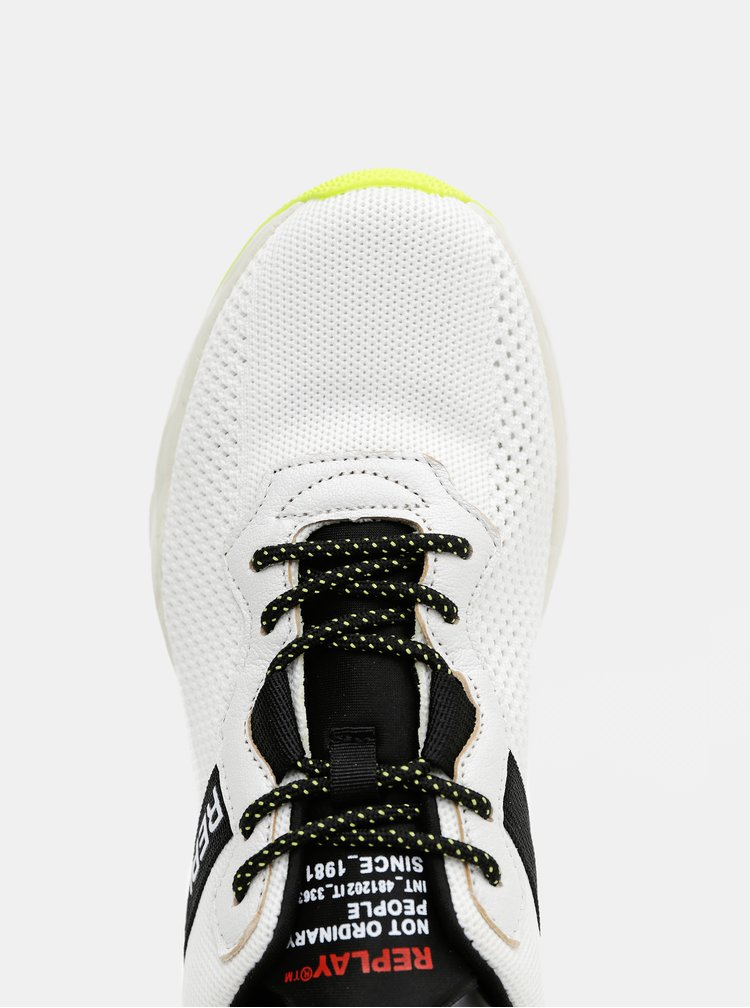 Bílé pánské tenisky s koženými detaily Replay