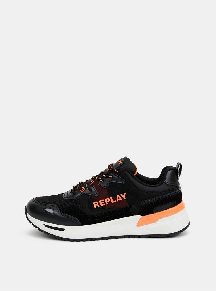 Černé pánské tenisky s koženými detaily Replay