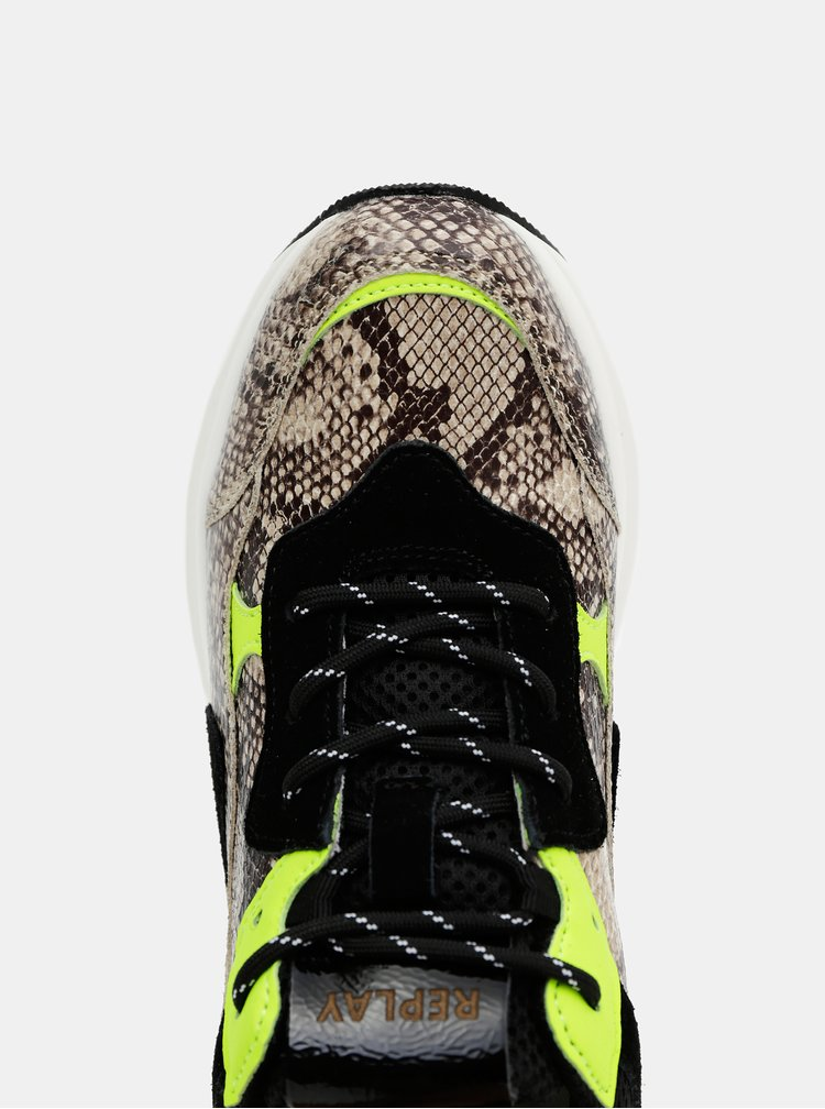 Černo-béžové dámské tenisky s hadím vzorem Replay