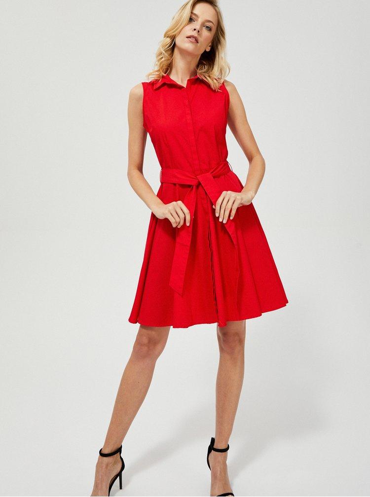 Červené košilové šaty Moodo