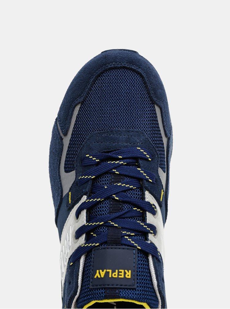 Modré pánské tenisky se semišovými detaily Replay