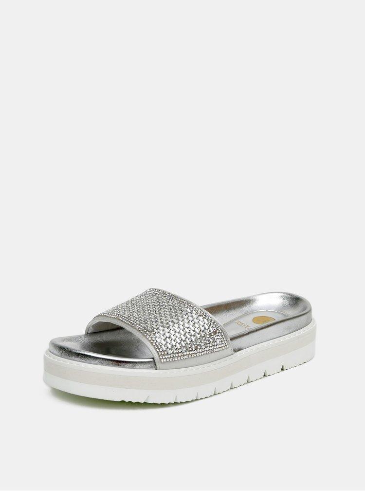 Dámské třpytivé pantofle ve stříbrné barvě Replay