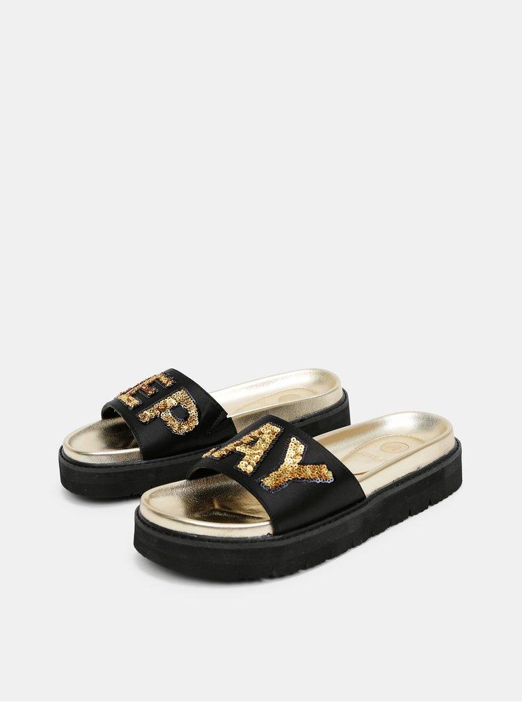 Černé dámské pantofle na platformě Replay