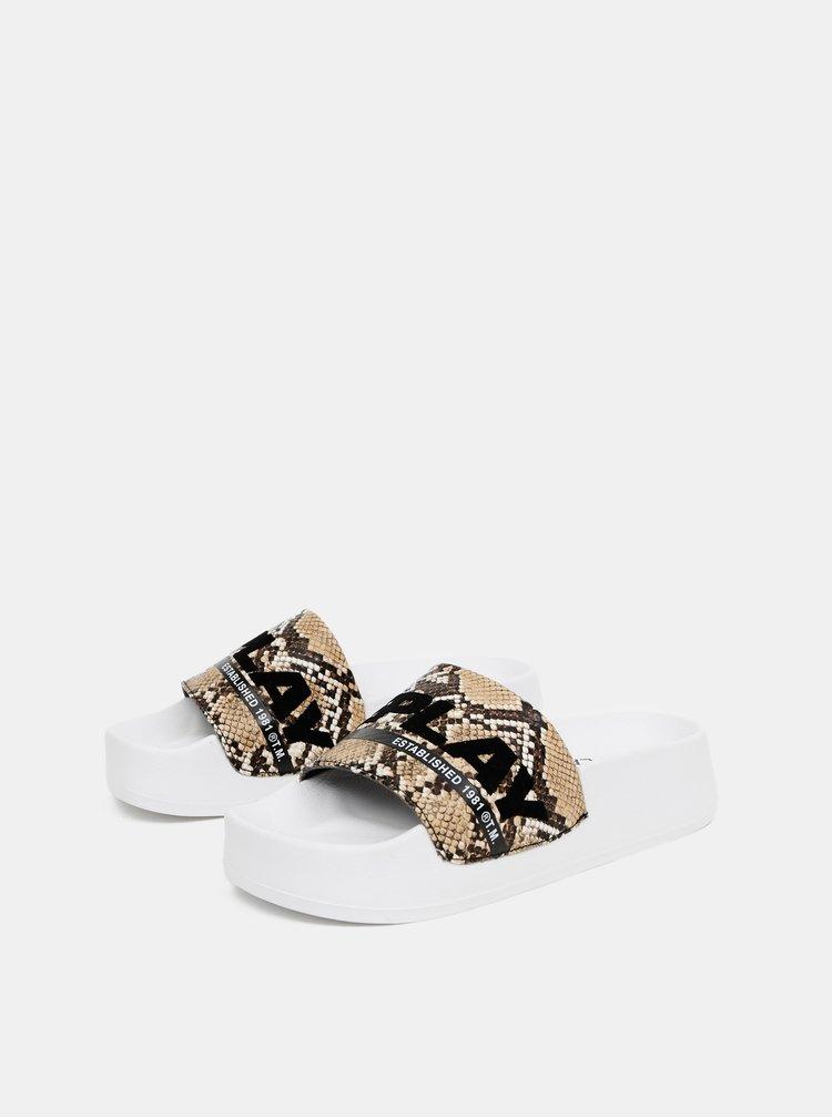 Hnědé dámské pantofle s hadím vzorem Replay