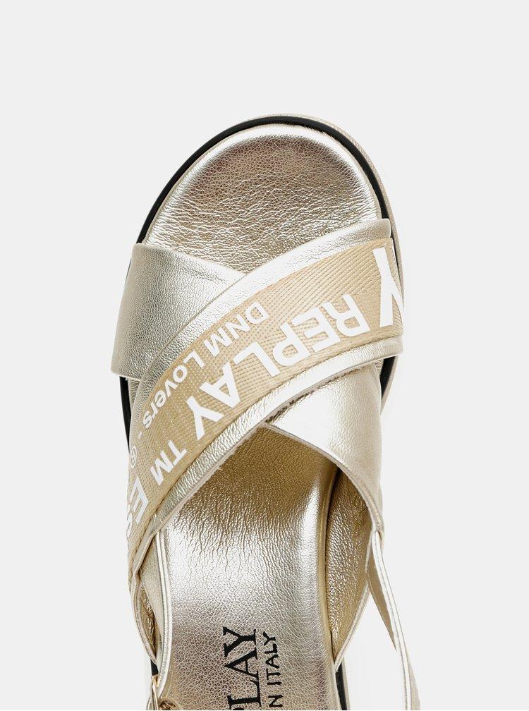 Dámské sandálky ve zlaté barvě na platformě Replay