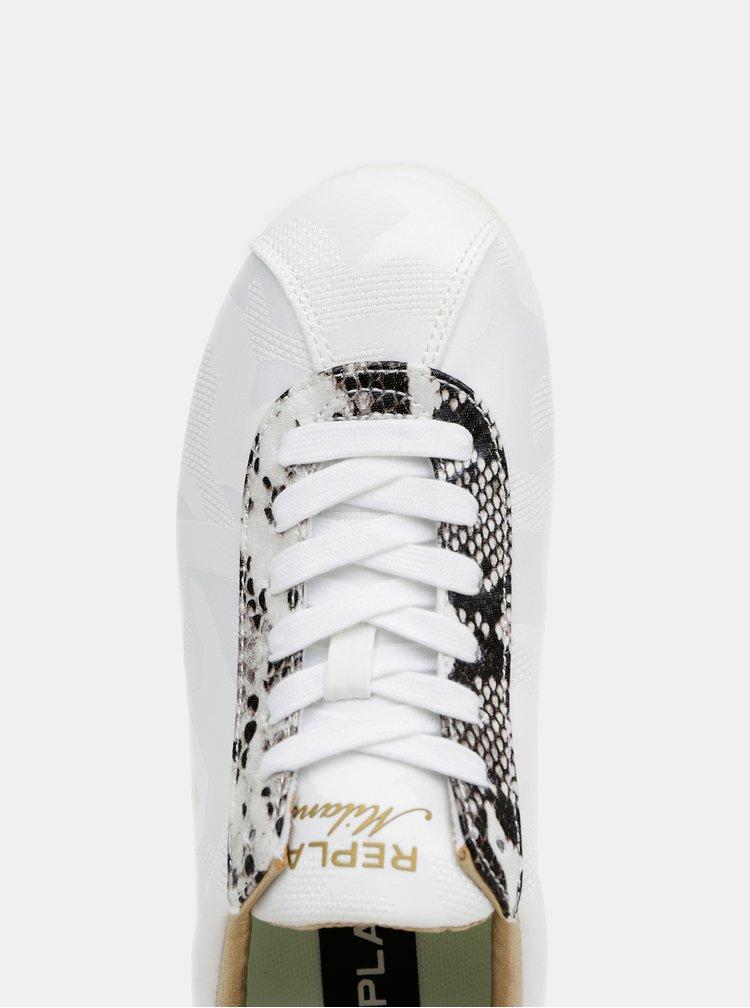 Biele dámske tenisky s hadím vzorom Replay