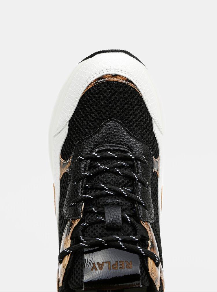 Bílo-černé dámské vzorované tenisky Replay