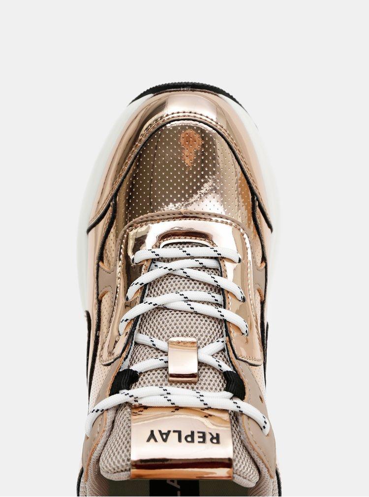 Dámské tenisky ve zlato-růžové barvě Replay