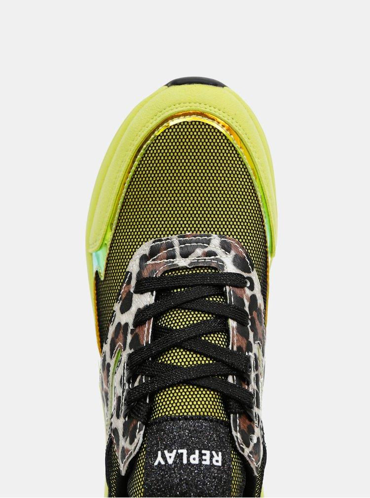 Zelené dámské vzorované tenisky s koženými detaily Replay