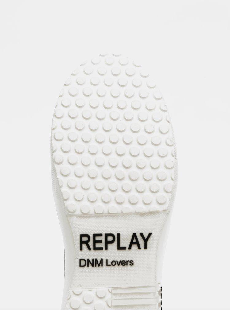 Biele dámske trblietavé tenisky na platforme Replay