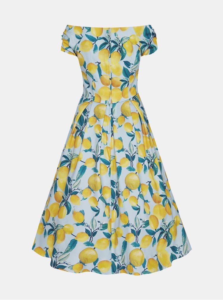 Žluto-modré vzorované midišaty Dolly & Dotty