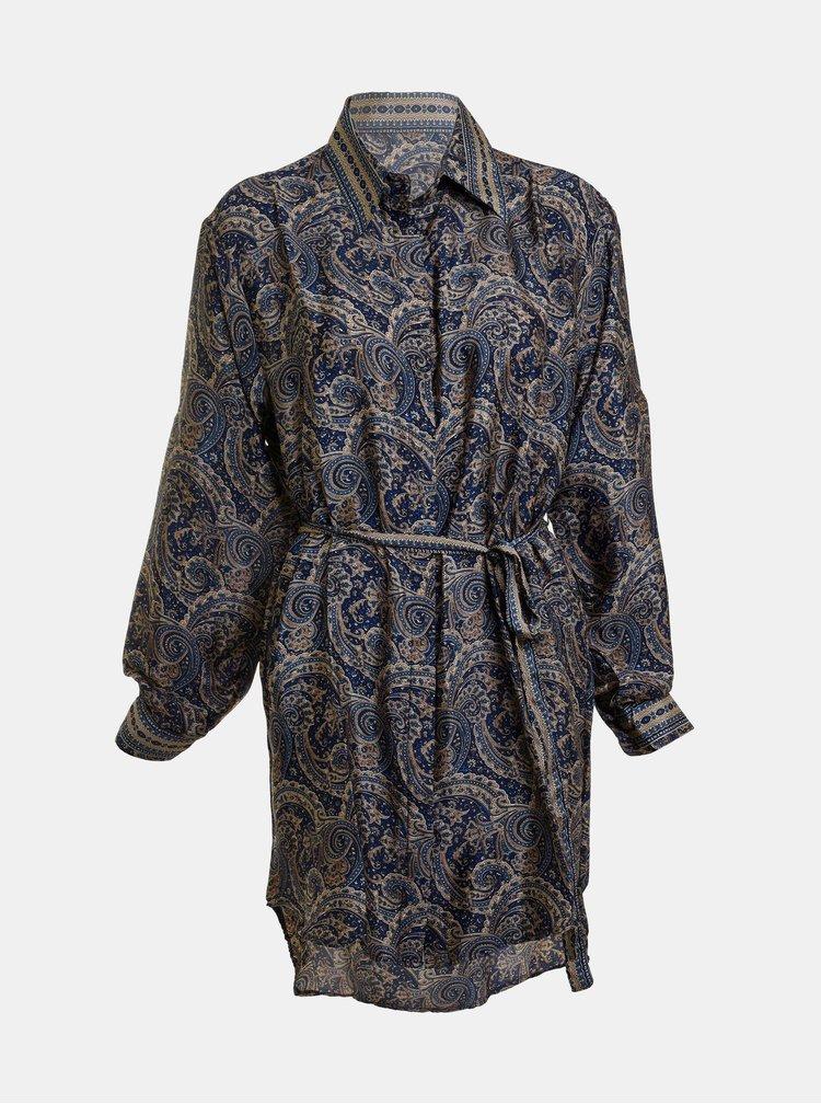 Modrá vzorovaná dlouhá košile s příměsí hedvábí Ble