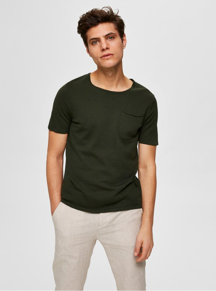 Khaki basic tričko Selected Homme