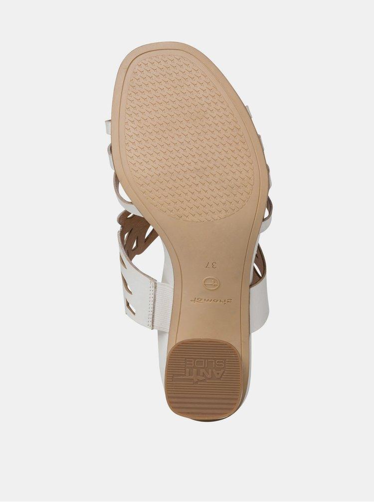 Bílé kožené pantofle na podpatku Tamaris