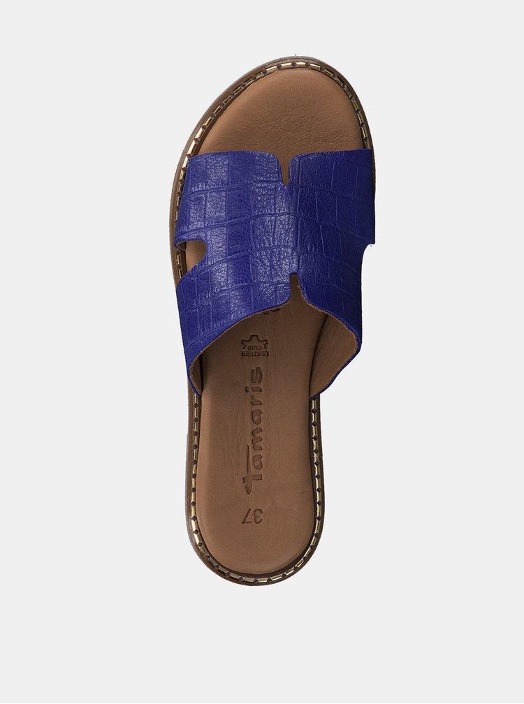 Modré kožené pantofle s krokodýlím vzorem Tamaris