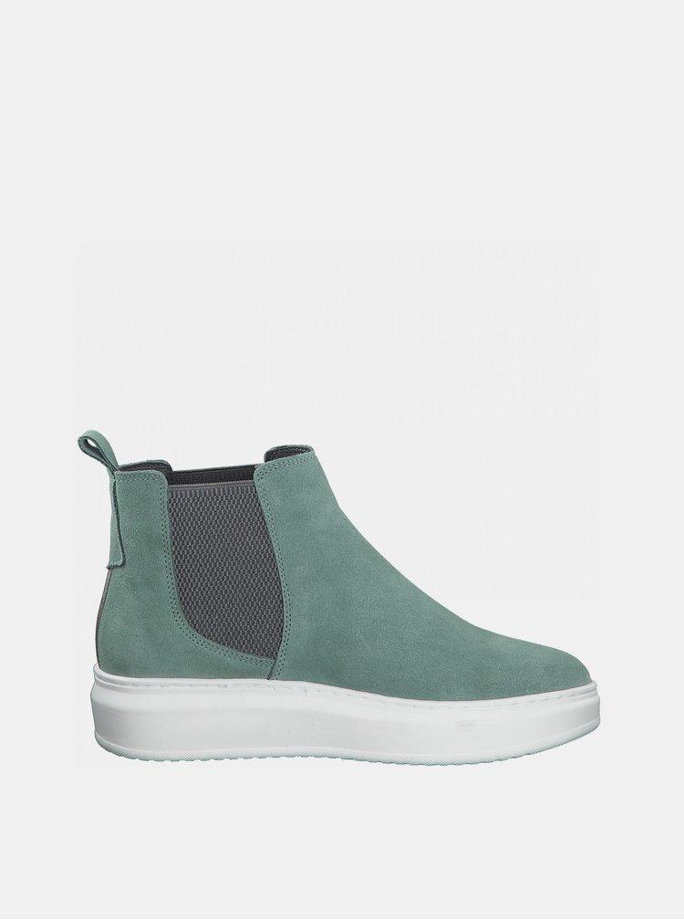 Mentolové semišové chelsea boty Tamaris