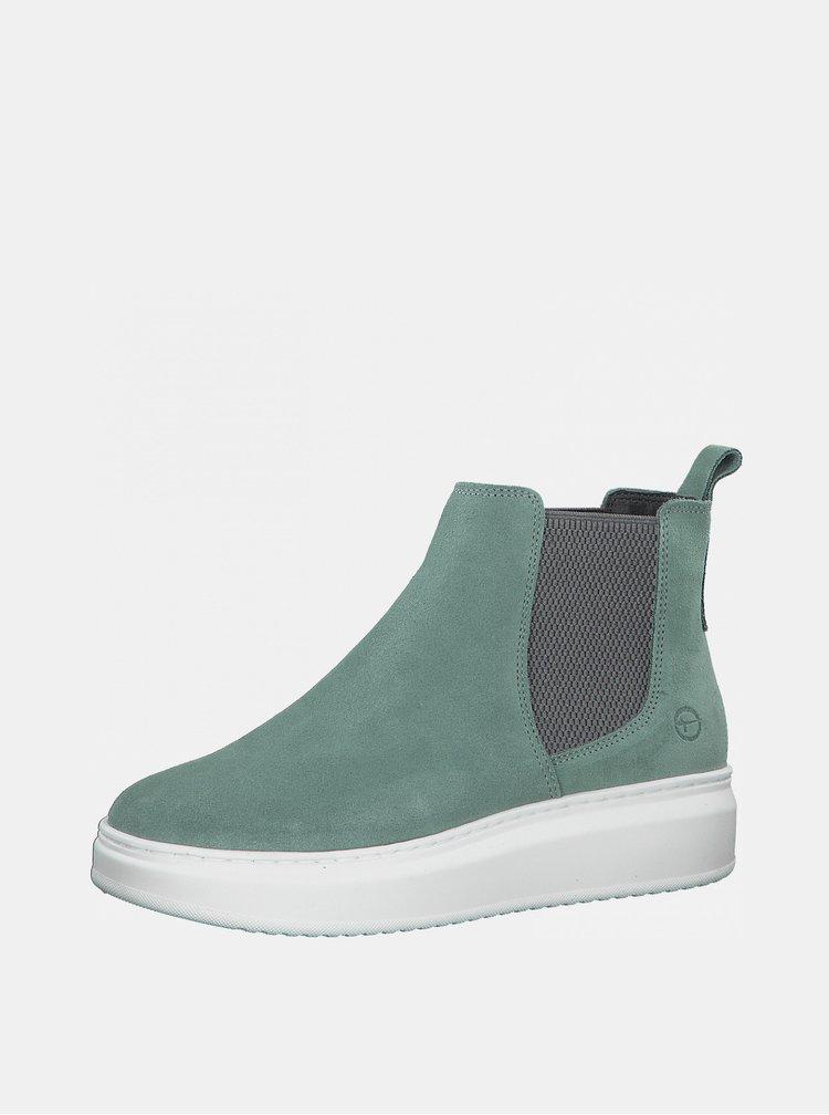 Mentolové semišové chelsea topánky Tamaris