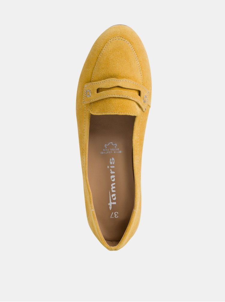 Žluté semišové mokasíny Tamaris