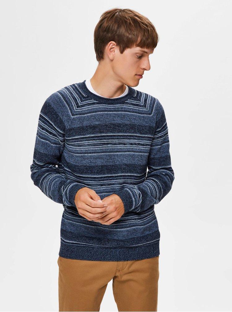 Modrý pruhovaný svetr Selected Homme