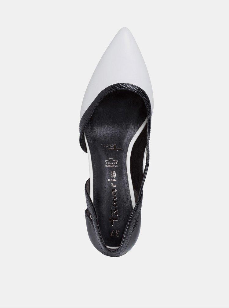 Černo-bílé kožené lodičky Tamaris
