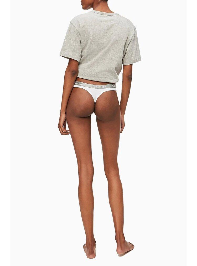 Calvin Klein bílá tanga se stříbrnou gumou Thong Strings