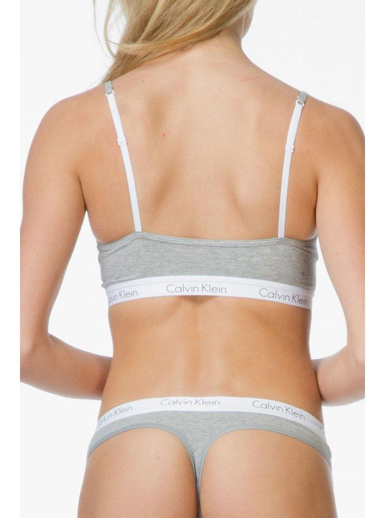 Calvin Klein šedá tanga s bílou gumou Thong Strings