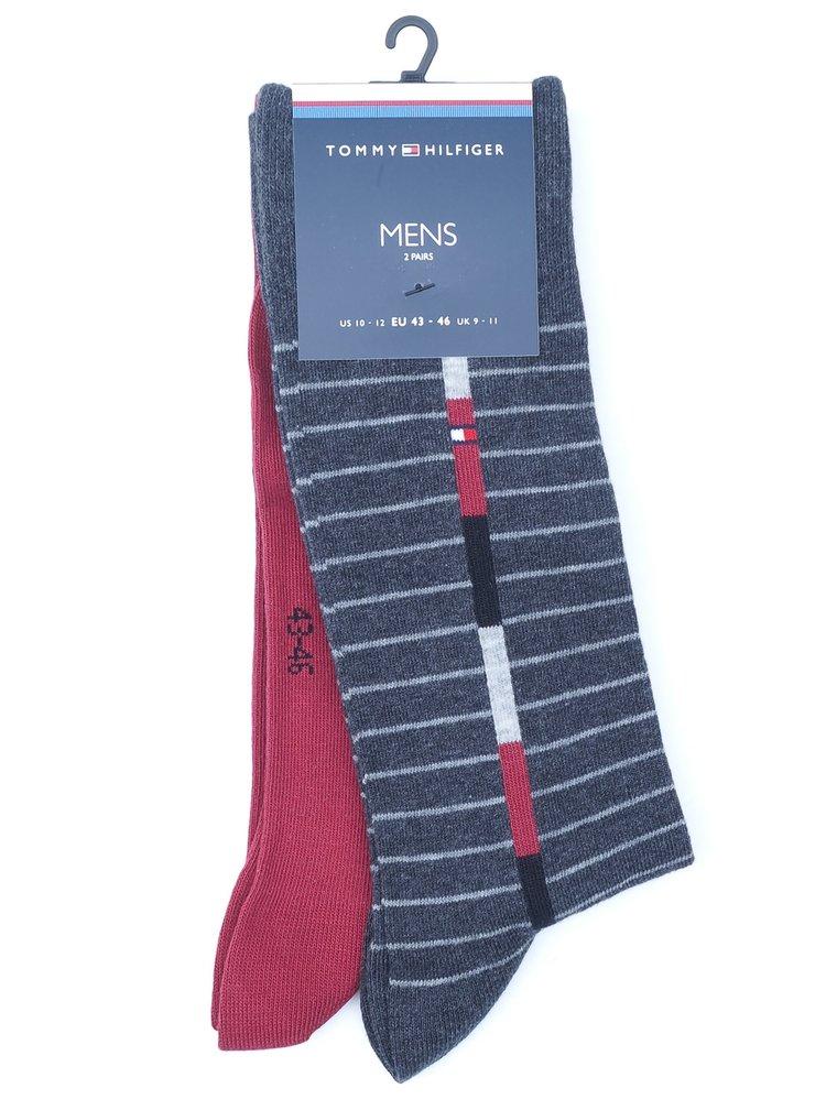 Tommy Hilfiger 2 pack pánských ponožek Original Red/Grey