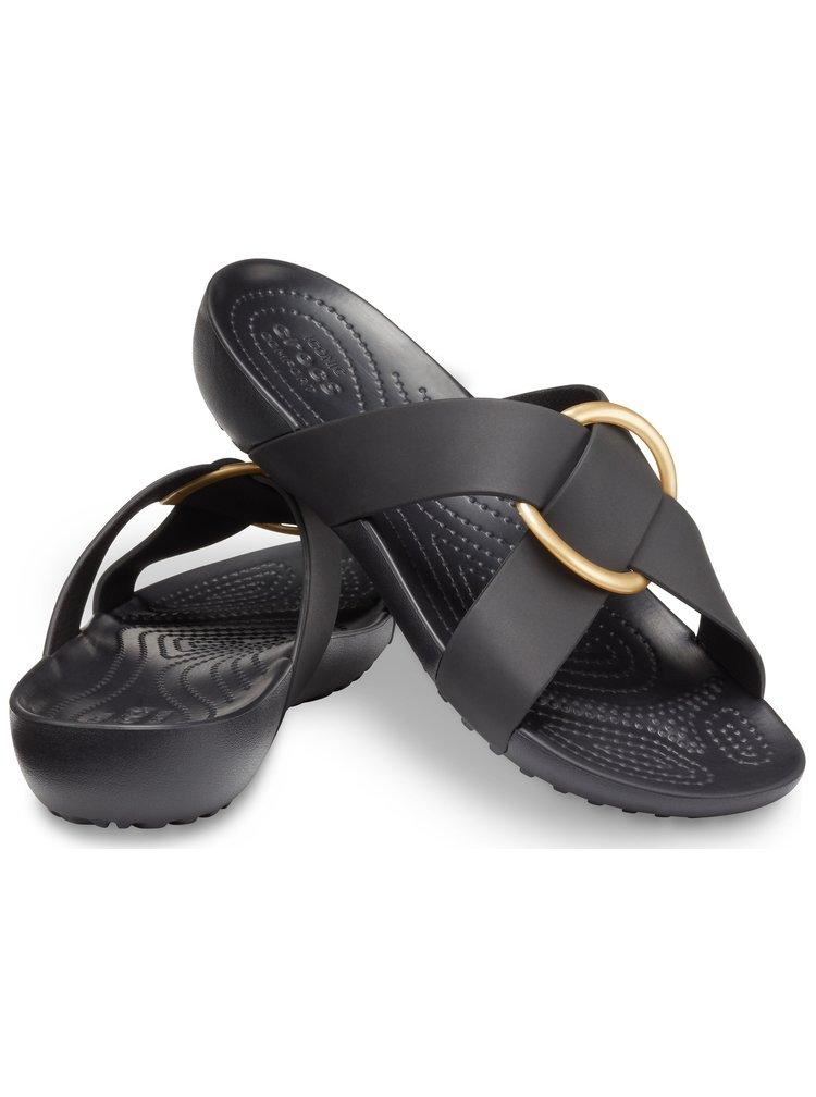 Crocs černé pantofle Serena Cross Band Slide