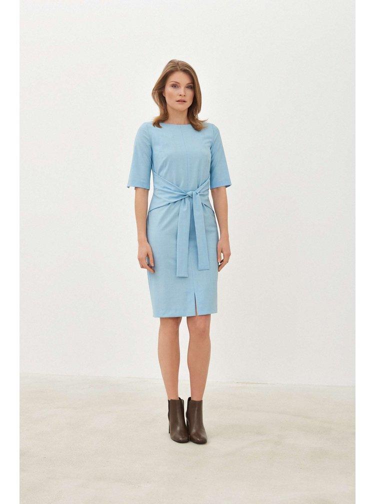 Pietro Filipi světle modré vlněné pouzdrové šaty