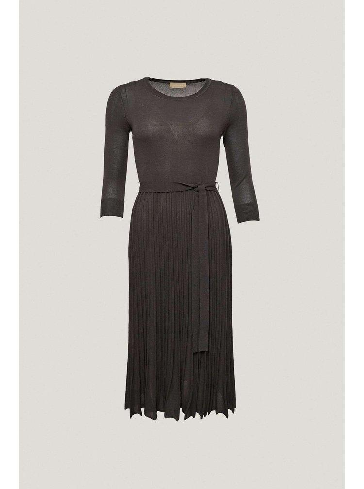 Pietro Filipi šedé pletené šaty s efektem plisé