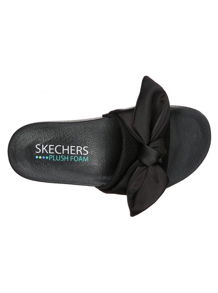 Skechers černé pantofle Pop Ups s mašlí