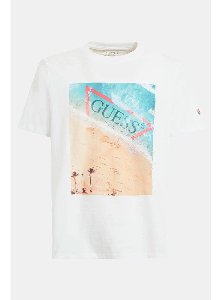 Guess bílé pánské tričko Mare Stampa Piazzata