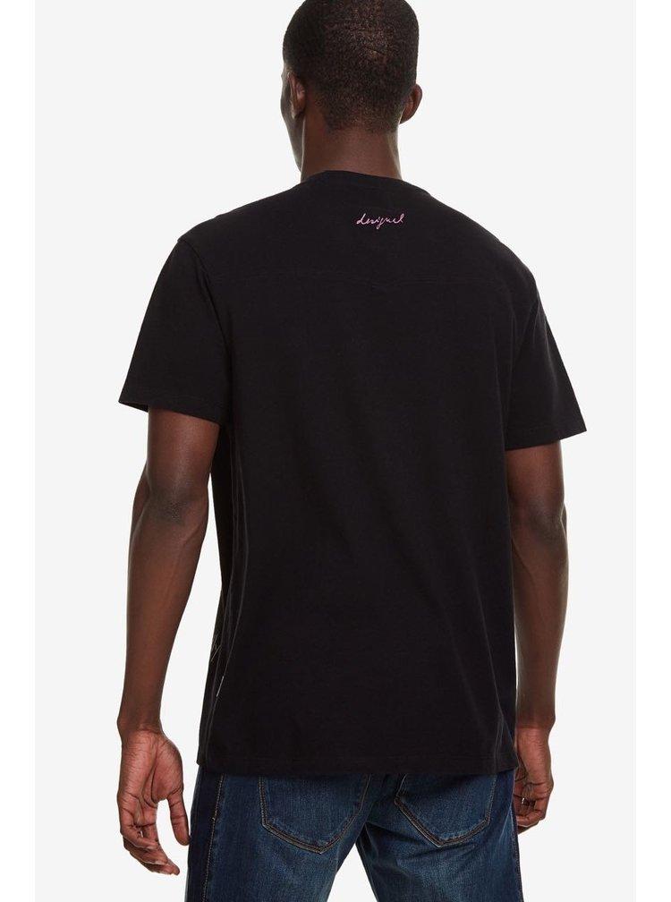 Desigual černé pánské tričko TS Esteban