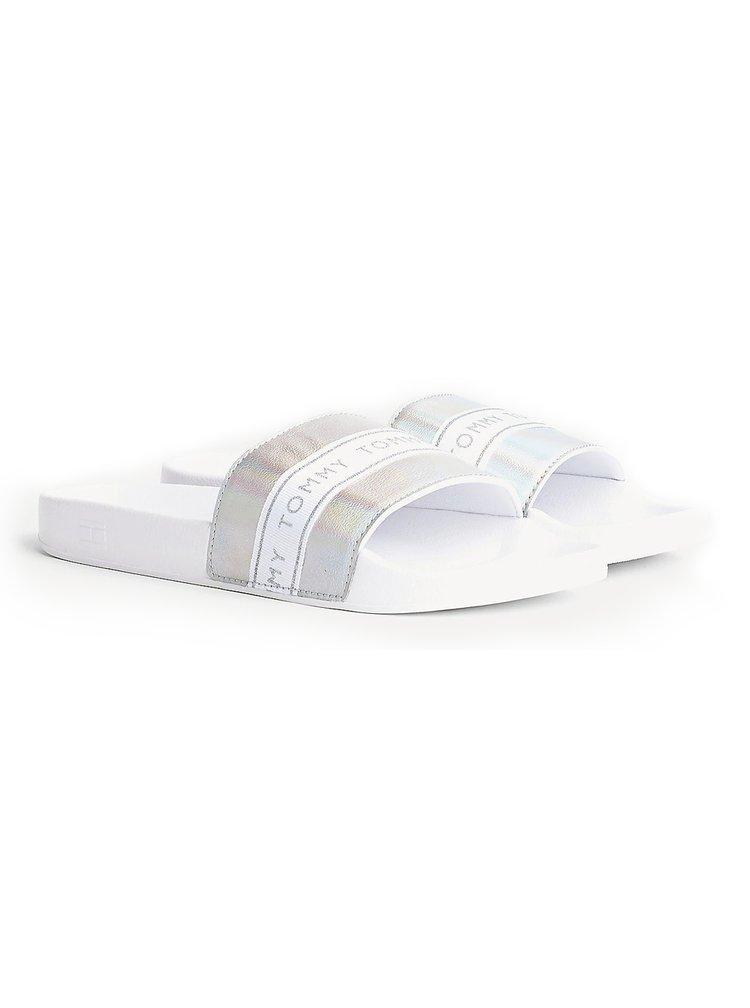 Tommy Hilfiger bílo-stříbrné pantofle Glitter Strap Pool Slides