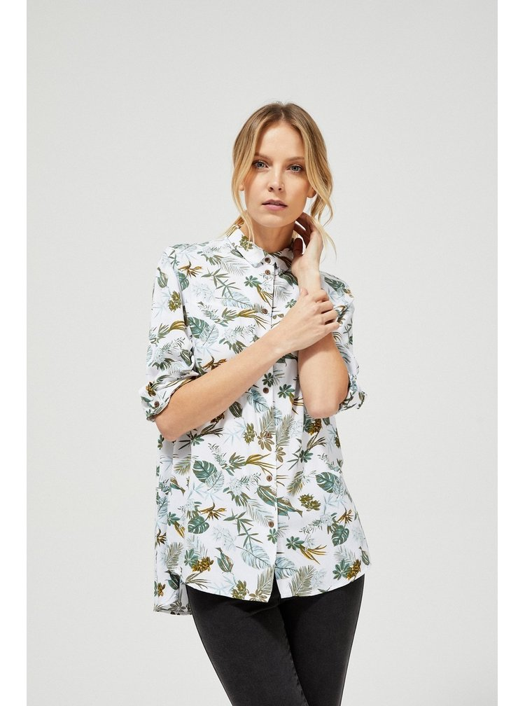 Moodo bílá propínací košile s tropickým motivem
