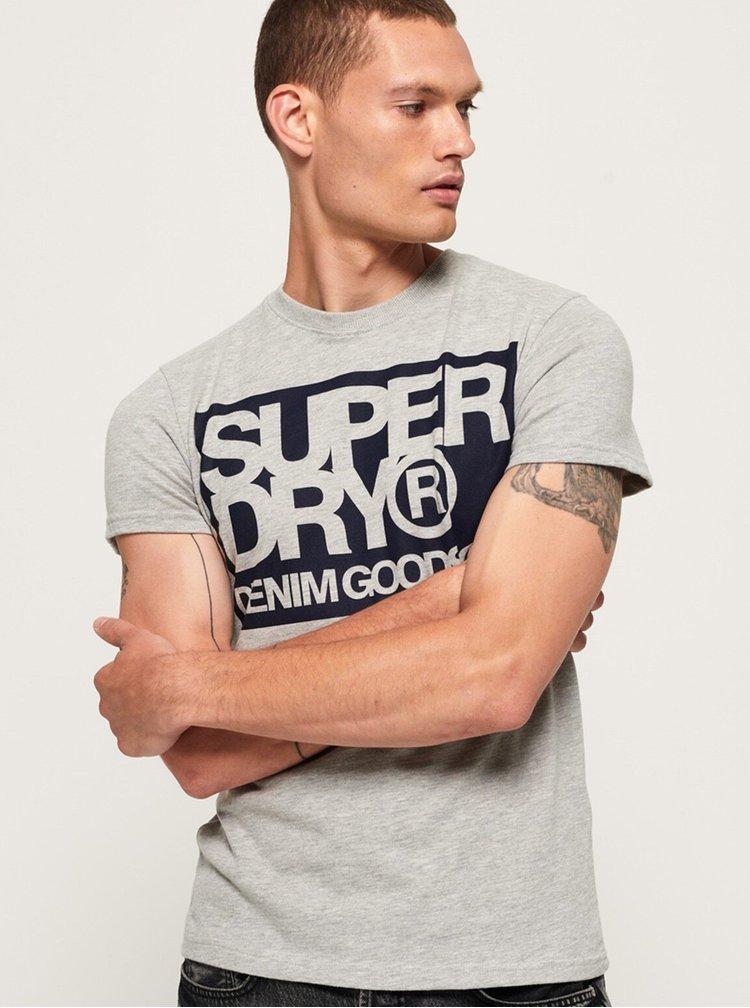 Světle šedé pánské tričko s potiskem Superdry