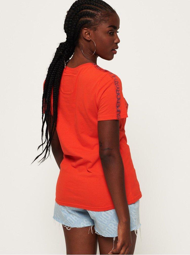 Oranžové dámské tričko s potiskem Superdry