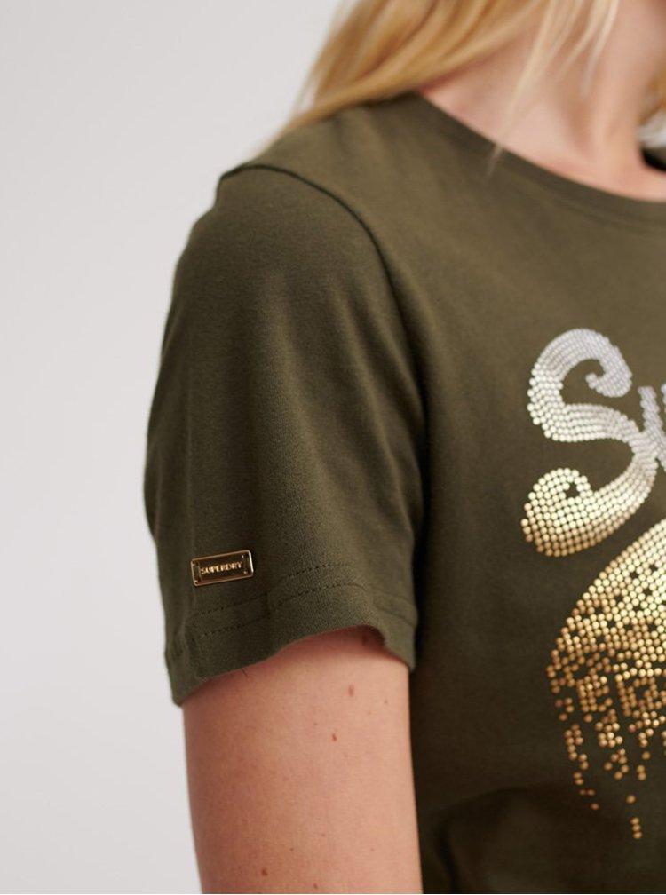 Khaki dámské tričko s potiskem Superdry
